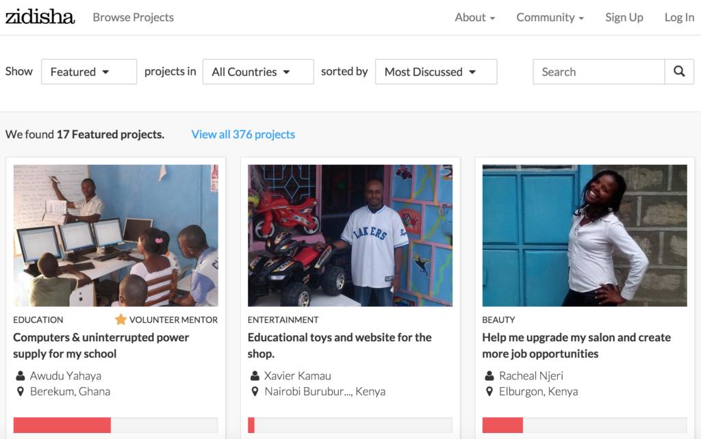 Zidisha Lend page crowdfunded microloans