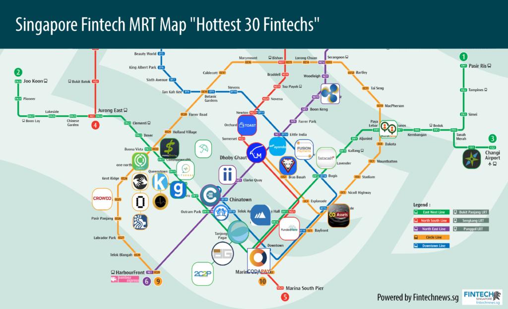 Singapore Fintech MRT Map Hottest Fintechs 2016