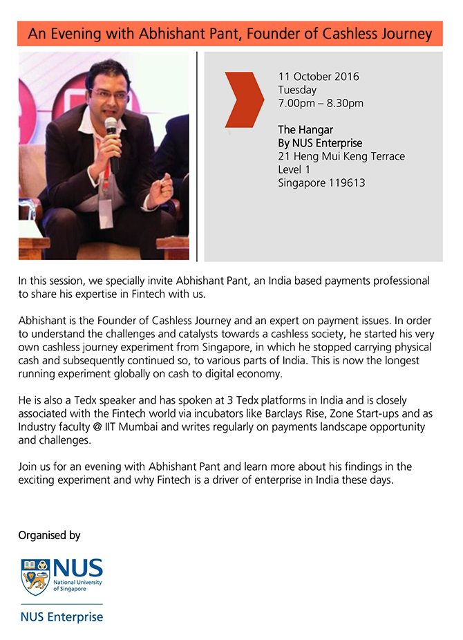 An Evening With Abhishant Pant - Founder of Cashless Journey