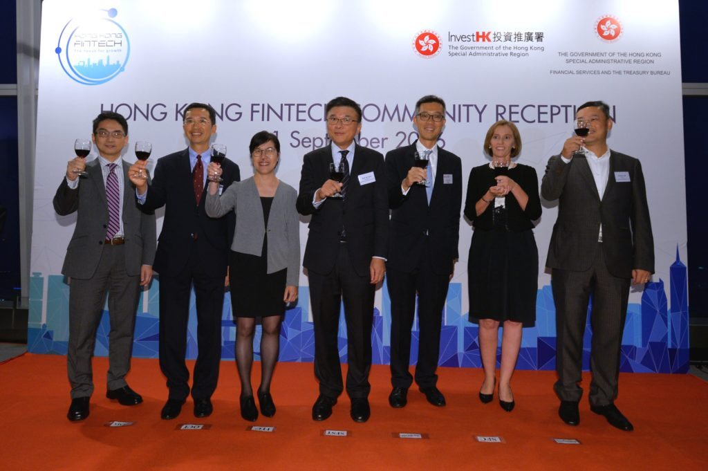 The Secretary for Financial Services and the Treasury, Professor K C Chan; the Acting Director-General of Investment Promotion, Mr Francis Ho, and other guests of honour today (September 21) officiate at the launch of Hong Kong FinTech Week
