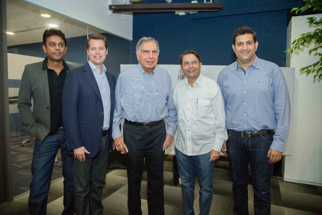 From left to right: Anurag Srivastava, Founding & Managing Partner- Jungle Ventures, David Gowdey, Managing Partner- Jungle Ventures, Mr Ratan Tata- Special Advisor-Jungle Ventures & Interim Chairman of Tata Sons, Mr Jayesh Parekh, Managing Partner-Jungle Ventures, Mr Amit Anand- Founding & Managing Partner-Jungle Ventures