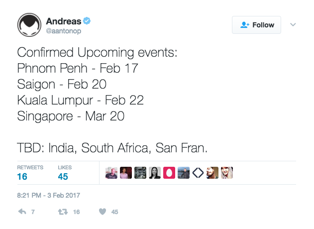Antonopoulos Southeast Asia events