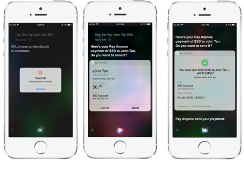 Making a payment via Siri