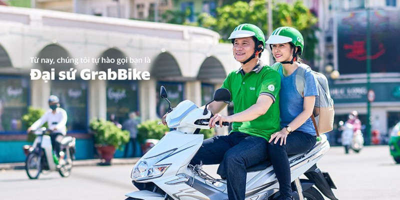 GrabBike driver and passenger