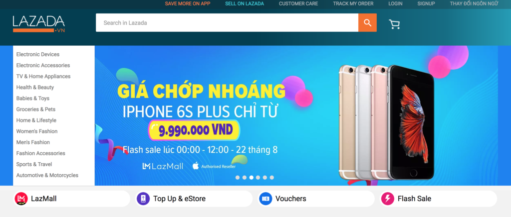 Lazada Vietnam homepage