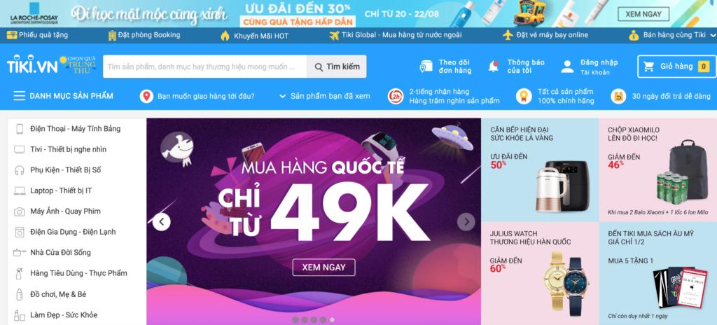 Tiki.vn homepage