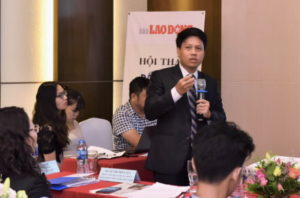 Pham Tien Dung, Director General of the Payment Department of the SBV speaks at a workshop in August 2018, via SBV