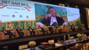 Stephen Edkins, CEO of Rice Exchange, presents at the 2018 World Rice Trader Conference in Vietnam, Oct 2018