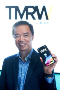 Dr Dennis Khoo, Head of Group Retail Digital, UOB, announces the launch of TMRW, an ASEAN digital bank powered by UOB