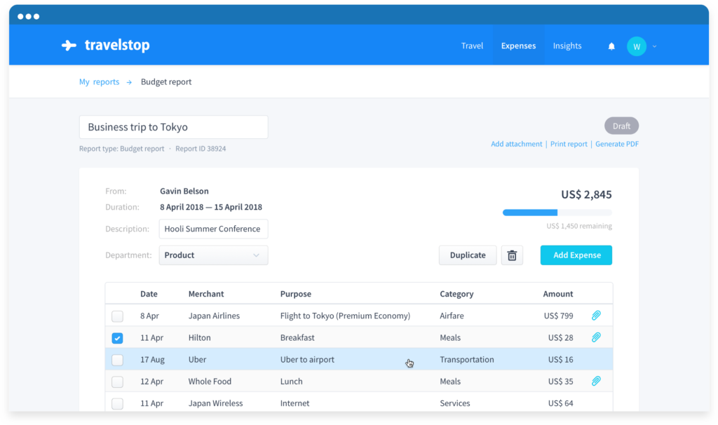 Automated expense reporting with simple approval workflow to improve productivity, Travelstop