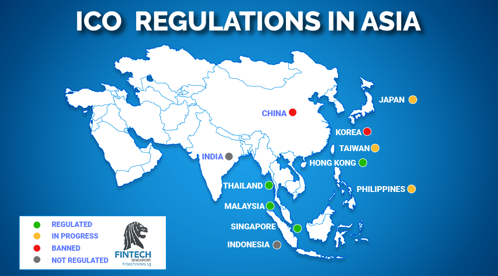 ICO Regulations Asia - China, India, Hong Kong, Taiwan, Malaysia, Indonesia, Philippines, Thailand, Japan, Korea