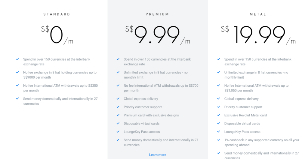 Revolut Singapore Launch Pricing