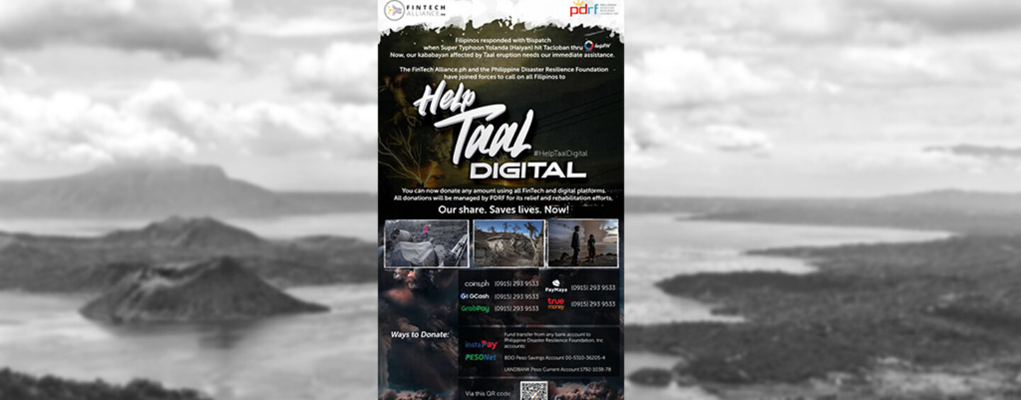 Philippines' Fintech Alliance Launches Campaign to Aid Taal Volcanic Eruption Victims