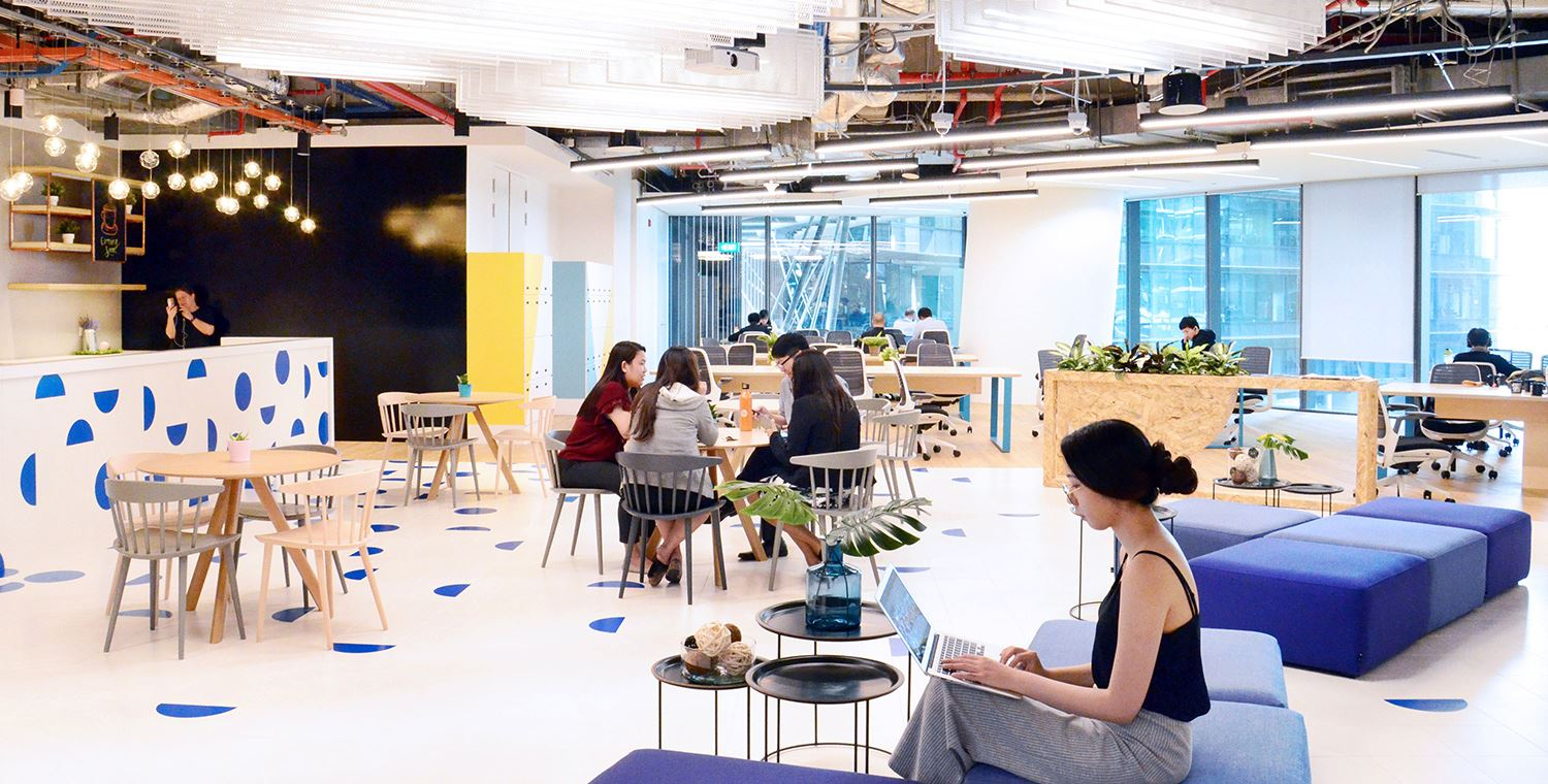 Coworking space fintech startup singapore : JustCo