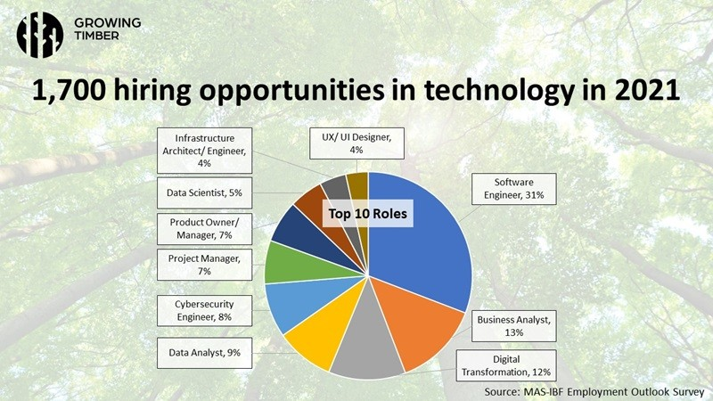 1,700 hiring opportunities in technology in 2021, Presentation slide, Growing Timber webinar series, Credit: Monetary Authority of Singapore (MAS)