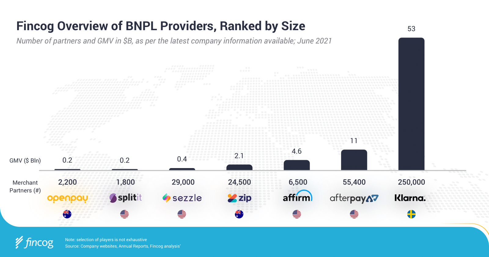 Fincog Overview of BNPL Providers, Ranked by Size