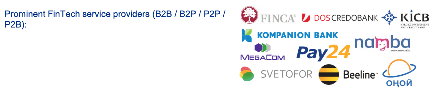 Prominent fintech service providers in Kyrgyzstan, Source: Overview of Fintech Development in Central Asia, KPMG, 2020